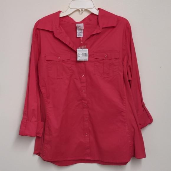 New raspberry pink camp shirt 2x plus 18 20 stretc